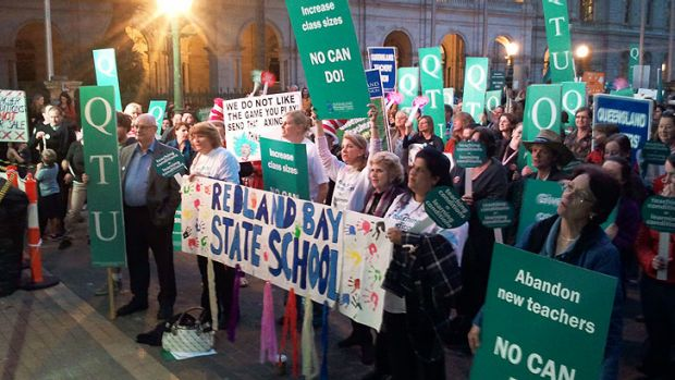 Queensland teachers protest outside Parliament House in Brisbane.