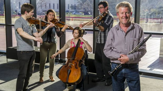 (L-R) The ANU School of Music's Tobias Chisnall, Estelita Rae, Julia Janiszewski, Anthony De Battista, and Professor ...