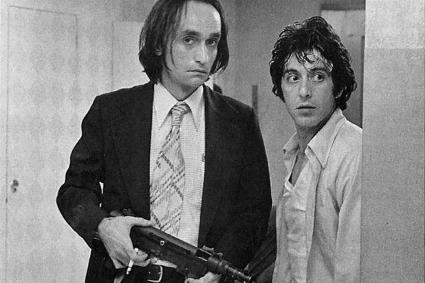 "John Cazale and Al Pacino as the two ill-fated bank robbers in ""Dog Day Afternoon""."