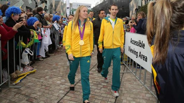 Hurdler Sally Pearson arrives at Federation Square.