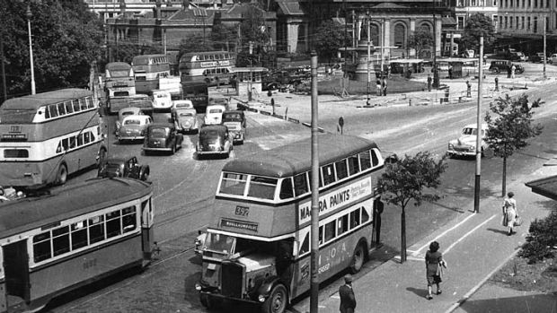 """""""People enjoyed being upstairs and on a higher level"""" ... double-deckers fill the streets around Queens Square when they ..."""