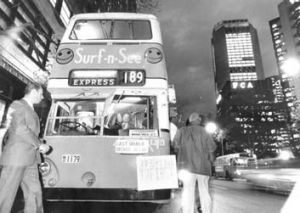 End of the line ... Sydney's last double-decker bus service leaves Wynyard for the northern beaches in 1986.