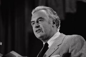 Gough Whitlam opens Labour Election campaign, delivering his policy speech, at Blacktown Civic Centre, 13 November 1972