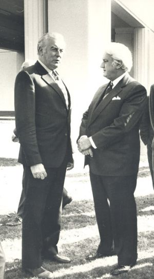 Gough Whitlam and Sir John Kerr at Government House.