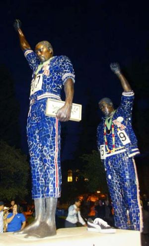 The statue of Tommie Smith and John Carlos at San Jose University.