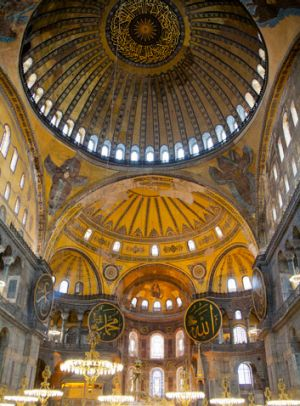 The interior of Hagia Sophia in Istanbul, Turkey.