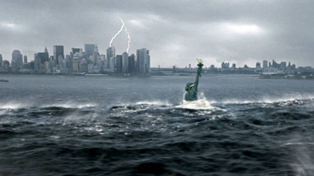 A tsunami floods New York city following a catastrophic climatic shift in a scene from the 2004 disaster film The Day ...