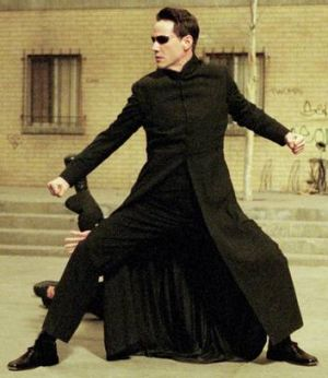 Man (Keanu Reeves) rages against the machine in 1999's The Matrix.