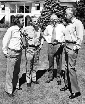 Mind games: Bob Hawke, Bill Hayden, Jim McClelland and Gough Whitlam in 1975.