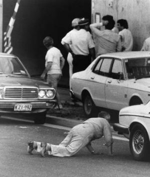 Unsolved atrocity … police and army bomb squad experts comb through the sealed off Hakoah Club in Bondi after a ...