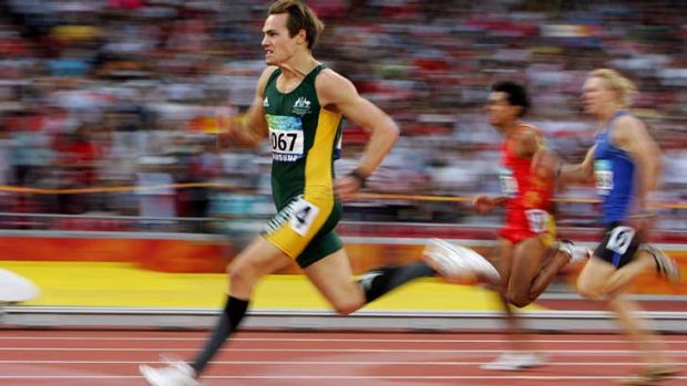 Logo no-go ... Evan O'Hanlon runs in the Beijing Paralympics in 2008. He won three gold medals and set two world records.