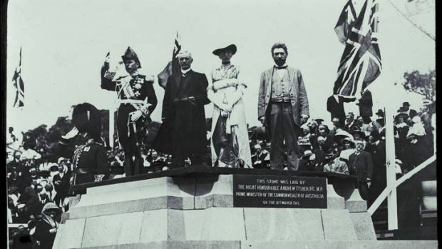 Naming of Canberra by Lady Denman. Photo courtesy National Library of Australia.