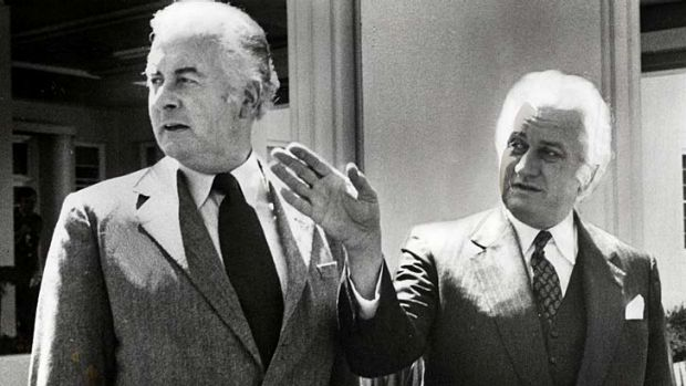 Former prime minister Gough Whitlam and former Governor General Sir John Kerr.