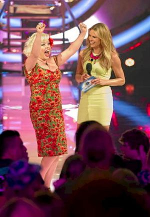 <i>Big Brother</i> host Sonia Kruger (right) speaks to the first evictee, Charne White, who went into the house to ...