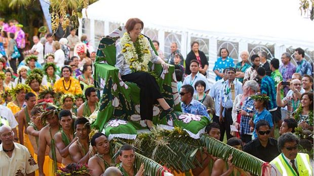 Australian Prime Minister Julia Gillard is welcomed to the the Cook Islands.