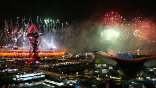 A firework display heralds the end of the opening ceremony.