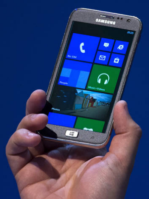 First mover ... Samsung unveils the new ATIV S, a Windows 8 smartphone, at a Berlin trade show.