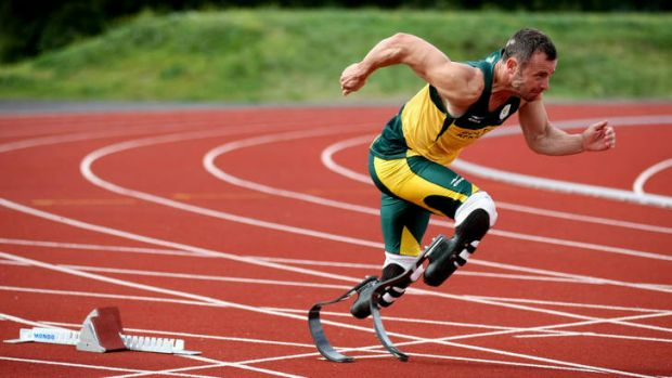 "The ""Blade Runner"" ... South Africa's Oscar Pistorius during a training session on Monday ahead of the Paralympic Games."