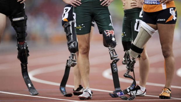 Some of the running blades that the world's fastest Paralympians hope will carry them to glory.