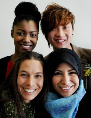Four new faces of Australia, rear, from left, Siobhan Frankis, Lex Koh, front, Sarah Balduchelli and Raihan Ismail.