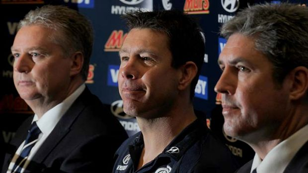Brett Ratten flanked by Greg Swann (left) and Stephen Kernahan (right) yesterday.