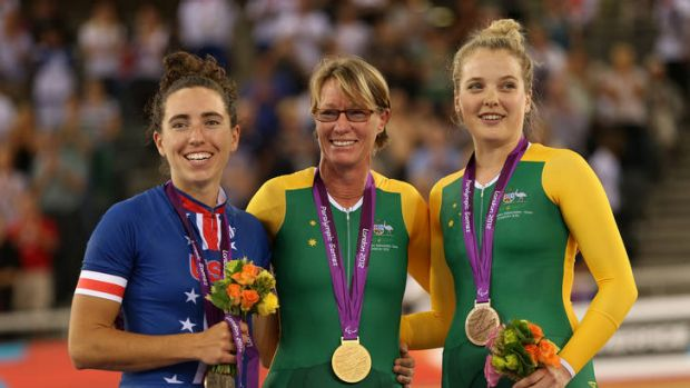 Gold medalist Susan Powell of Australia poses on the podium during the medal ceremony for the Women's Individual C4 ...
