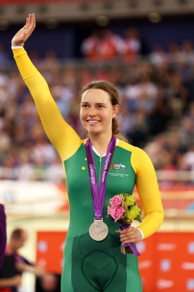 Silver medalist Simone Kennedy of Australia poses on the podium during the victory ceremony for the Women's Individual ...