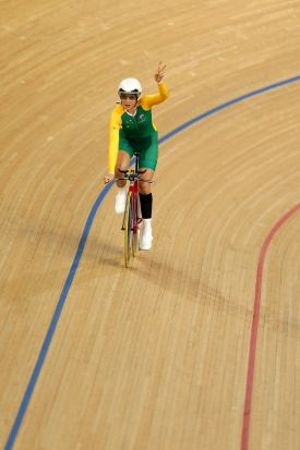 Alexandra Green of Australia celebrates winning bronze in the Women's Individual C4 Pursuit Cycling on day 1 of the ...
