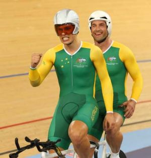 Sweet success: Kieran Modra overcame serious injuries to claim gold with pilot Scott McPhee.