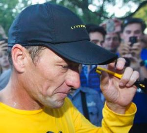 Quitting: Lance Armstrong still draws a crowd this week.