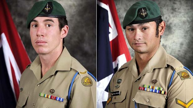 Private Nathanael Galagher, left, and Lance Corporal Mervyn McDonald, two of the  five Australian soldiers killed in ...