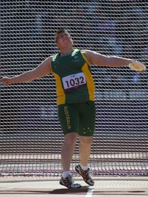 Australia's Katherine Proudfoot competes in the women's discus throw.