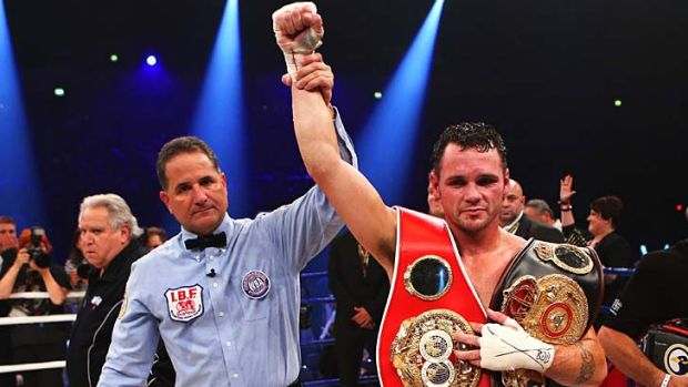 Daniel Geale of Australia wins the WBA and IBF middleweight world championship fight against Felix Sturm of Germany in ...