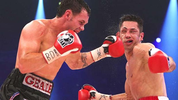 Australian Daniel Geale connects with a punch to the head of Felix Sturm of Germany during their WBA and IBF ...