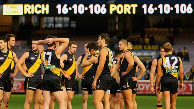 The final scoreline .... The Tigers come to terms with a final round draw.