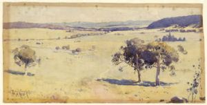 Penleigh Boyd's watercolour 'The Canberra Site' (1913) embodies the words of Badjam's Queanbeyan poem which was composed ...