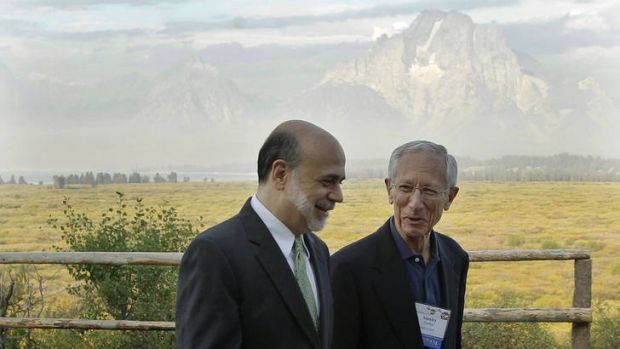 Good view: Ben Bernanke and Bank of Israel governor Stanley Fischer at Jackson Hole, Wyoming.