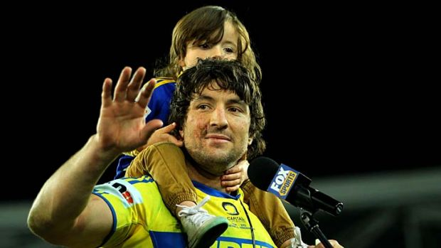 Grand finale … an emotional Nathan Hindmarsh, with his son Rowdy, didn't get the send-off he wanted but made it ...