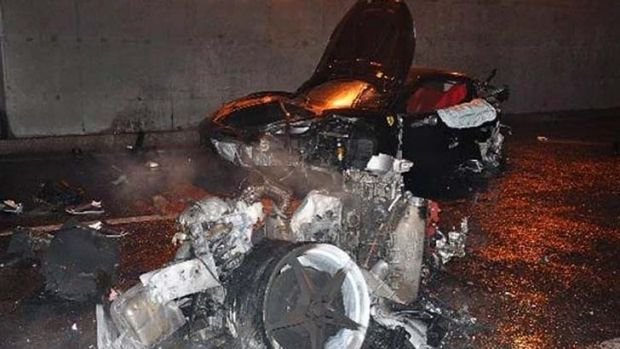 The wreckage of a Ferrari which exploded into flames after a crash in Beijing that allegedly killed Ling Jihua, the son ...