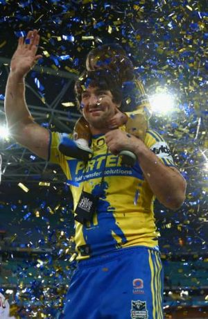 Nathan Hindmarsh of the Eels signs off in style.