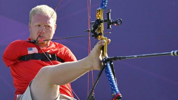 Never-say-die attitude ... Matt Stutzman on his way to silver at the Paralympic Games on Monday.