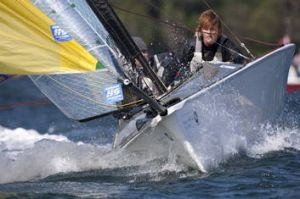 Liesl Tesch competes in a two-person keelboat.