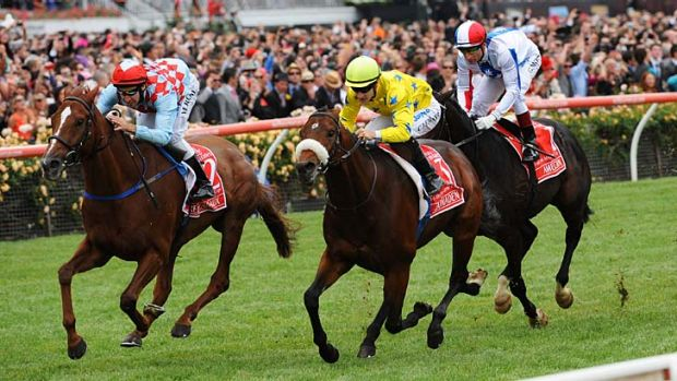 Take two: Dunaden (yellow colours) defeats Red Cadeaux in last year's Cup.