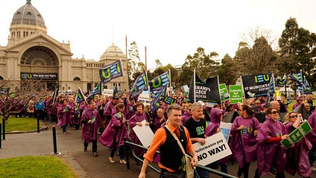 Catholic teachers start their march on Parliament.