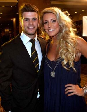 Richmond Best and fairest winner Trent Cotchin with his partner Brooke Kennedy at Crown Palladium.