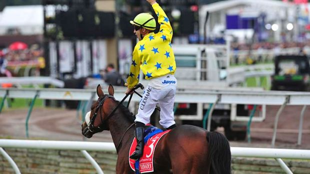 Christophe Lemaire aboard Dunaden after the 2011 Melbourne Cup.