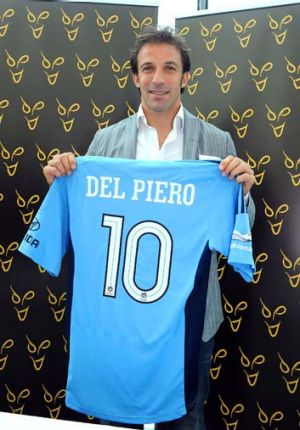Signed ... Alessandro Del Piero poses with Sydney FC jersey.