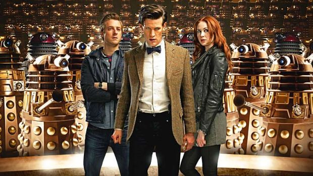 Who dares … Rory (Arthur Darvill), the Doctor (Matt Smith) and Amy (Karen Gillan) take on the daleks in the ...