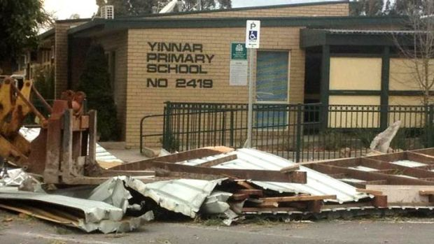 """Reader Wendy Mitchell sent us this photo of damage at Yinnar Primary School in Victoria's east. She wrote: """"This was ..."""