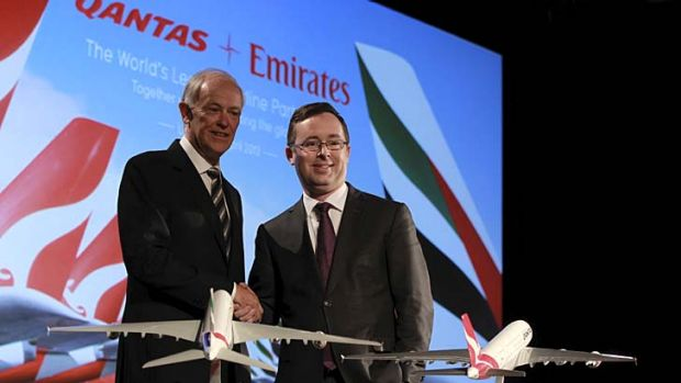 Tim Clark from Emirates and Allan Joyce from Qantas at yesterday's media conference.